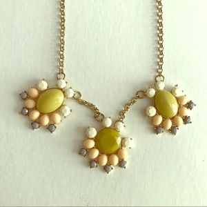 💍 J.CREW gold chain, pastel stones bib necklace
